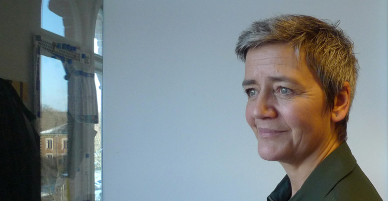 The European Union's competition commissioner, Margrethe Vestager, poses during an interview Monday Jan. 14, 2019, in Copenhagen, Denmark. Vestager has challenged big Silicon Valley companies such as Google and Apple with high profile cases, and is laying the groundwork for intensified scrutiny of tech firms as she prepares to end her term in office in late 2019. (AP Photo / Kelvin Chan)