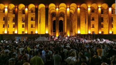 Thousands of protesters rally outside the Georgian parliament in Tbilisi on June 20, 2019.