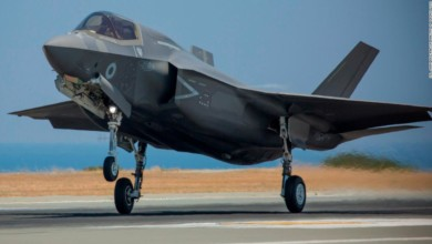 A Royal Air Force F-35B Lightning jet returning from its first operational sortie at RAF Akrotiri, Cyprus.